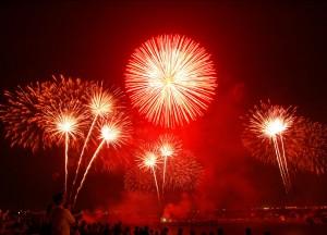 Feuerwerk bei den Pyrogames on Snow