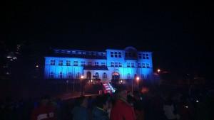 Lasershow vor dem Rathaus Klingenthal