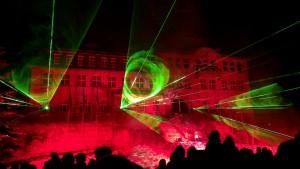 Rathaus Klingenthal, Lasershow, Feuerwerk, Welcome-Party 2013