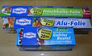 Toppits Alufolie Gefrierbeutel Frischhaltefolie